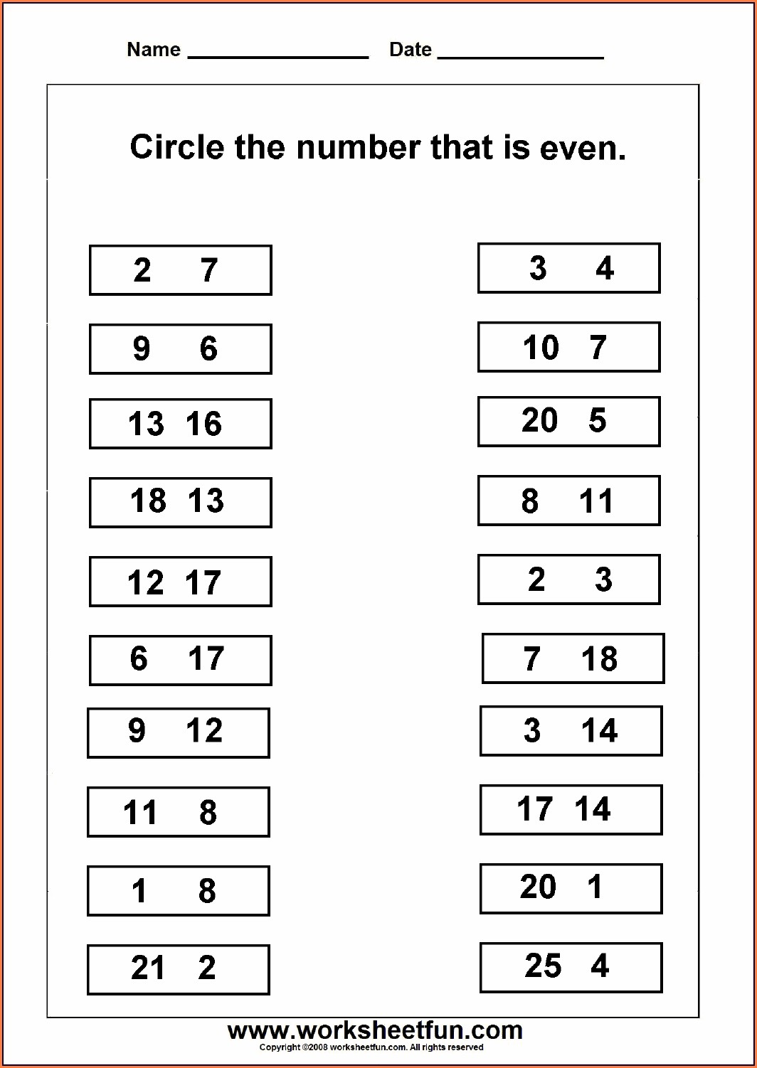 Even Odd Numbers Worksheets First Grade