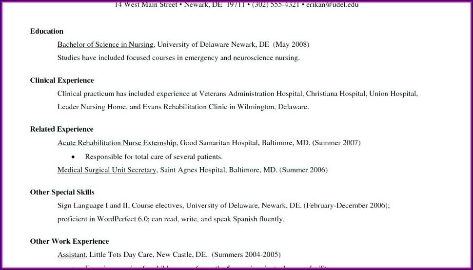 Examples Of New Grad Nurse Resumes