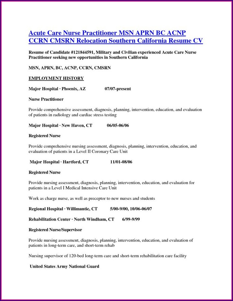 Examples Of Nurse Practitioner Cv Resume