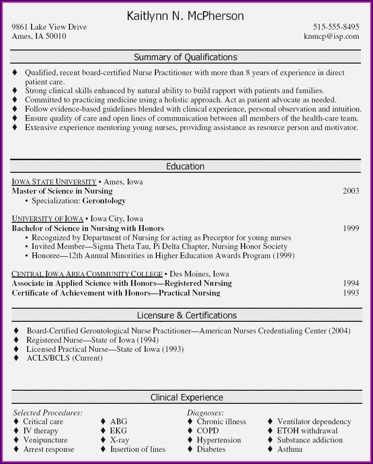 Examples Of Nurse Practitioner Resumes