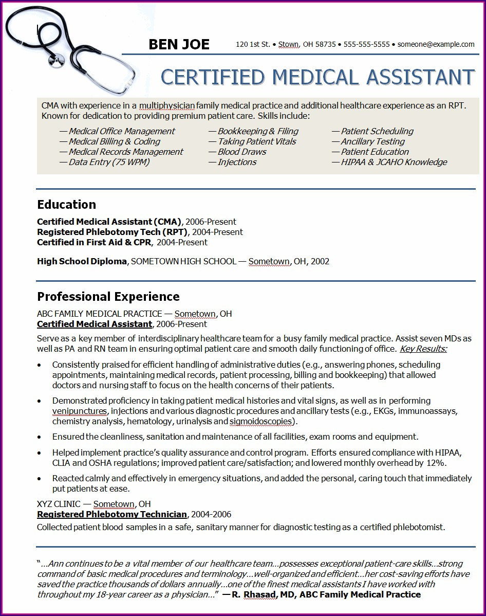 Examples Of Resume Objectives For Medical Assistants