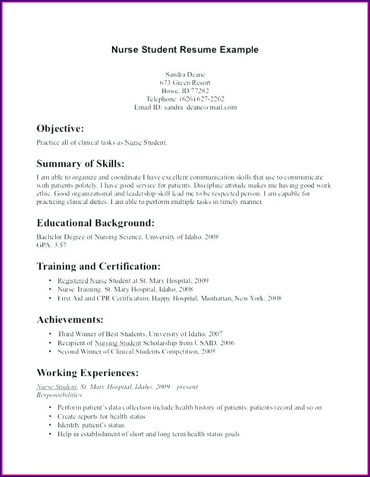 Examples Of Student Nurse Resumes