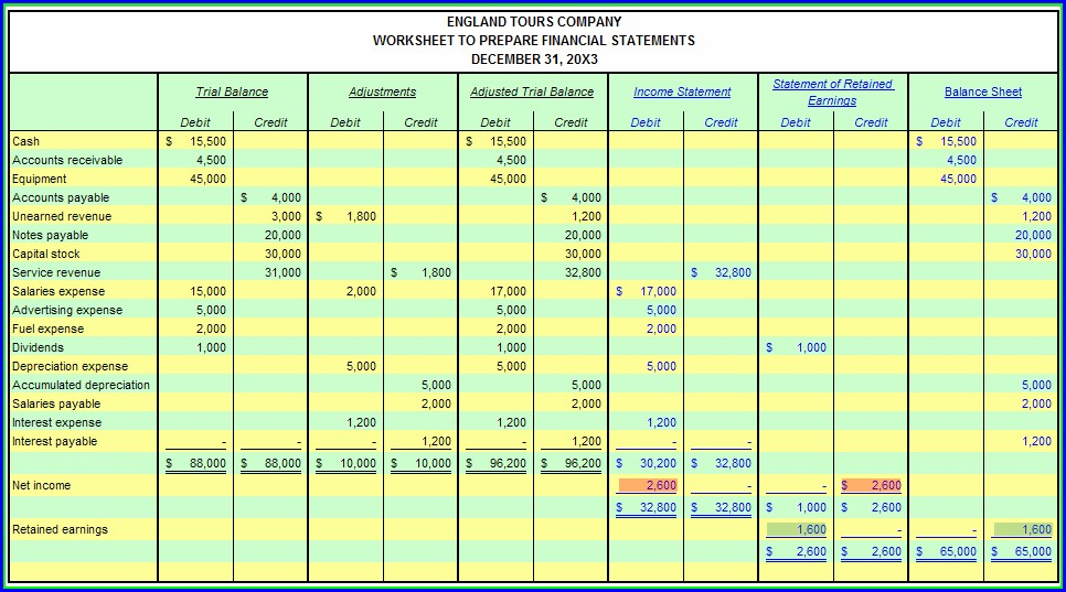 Excel Accounting Trial Balance Worksheet