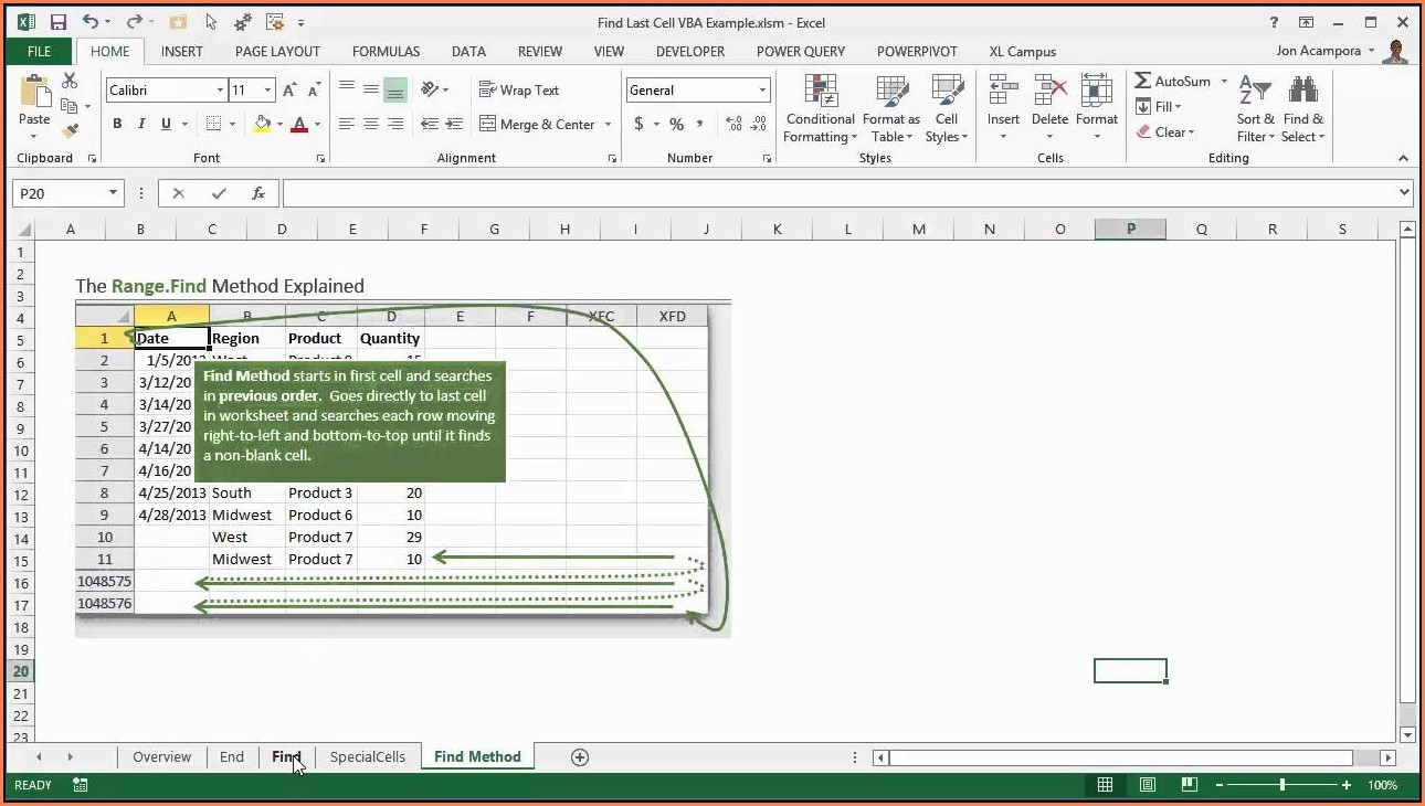Excel Vba Cellsfind Method