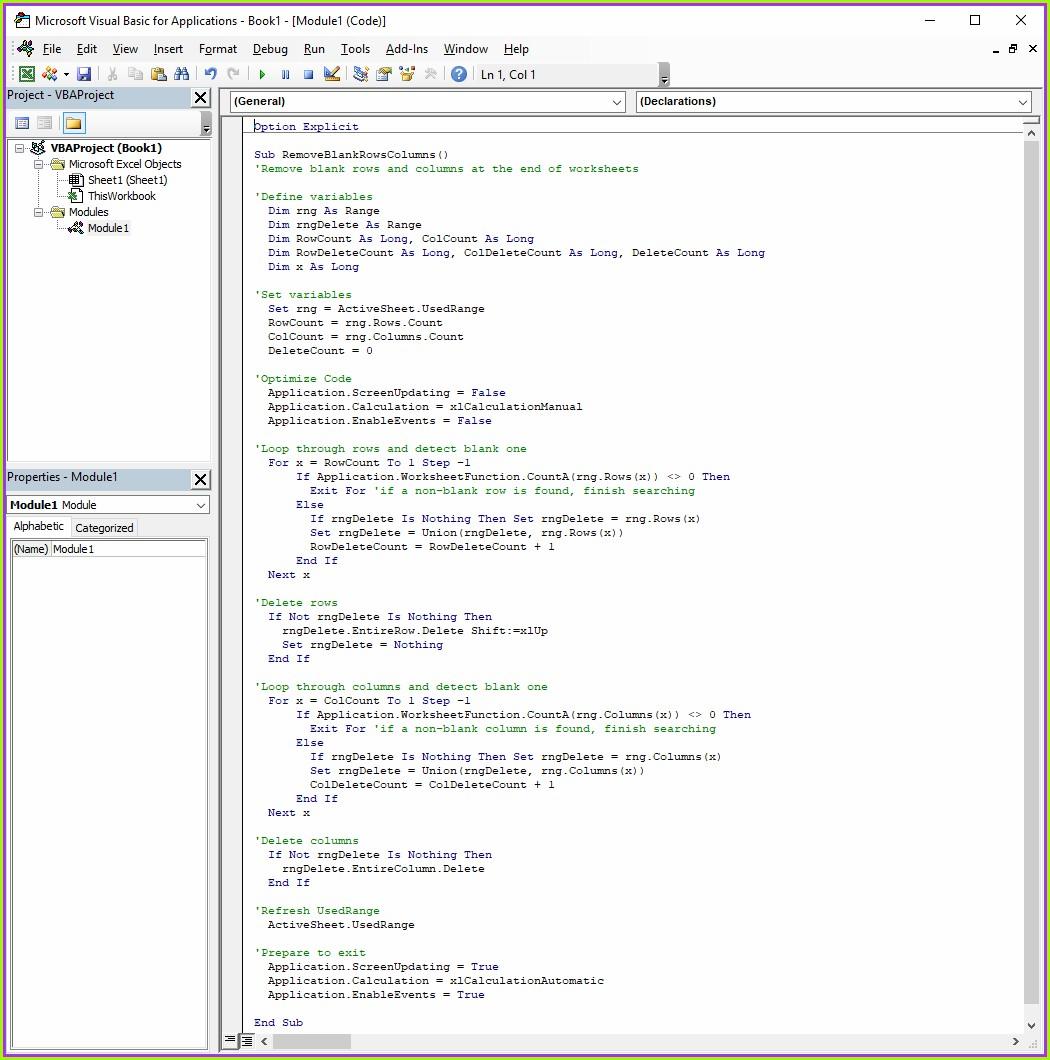 Excel Vba Delete Column From Worksheet
