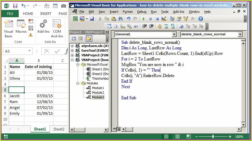 Excel Vba Protetcted Sheet Delete Row