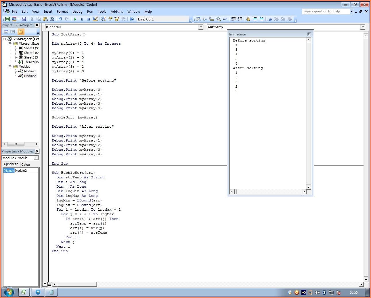 Excel Vba Sort Array Function