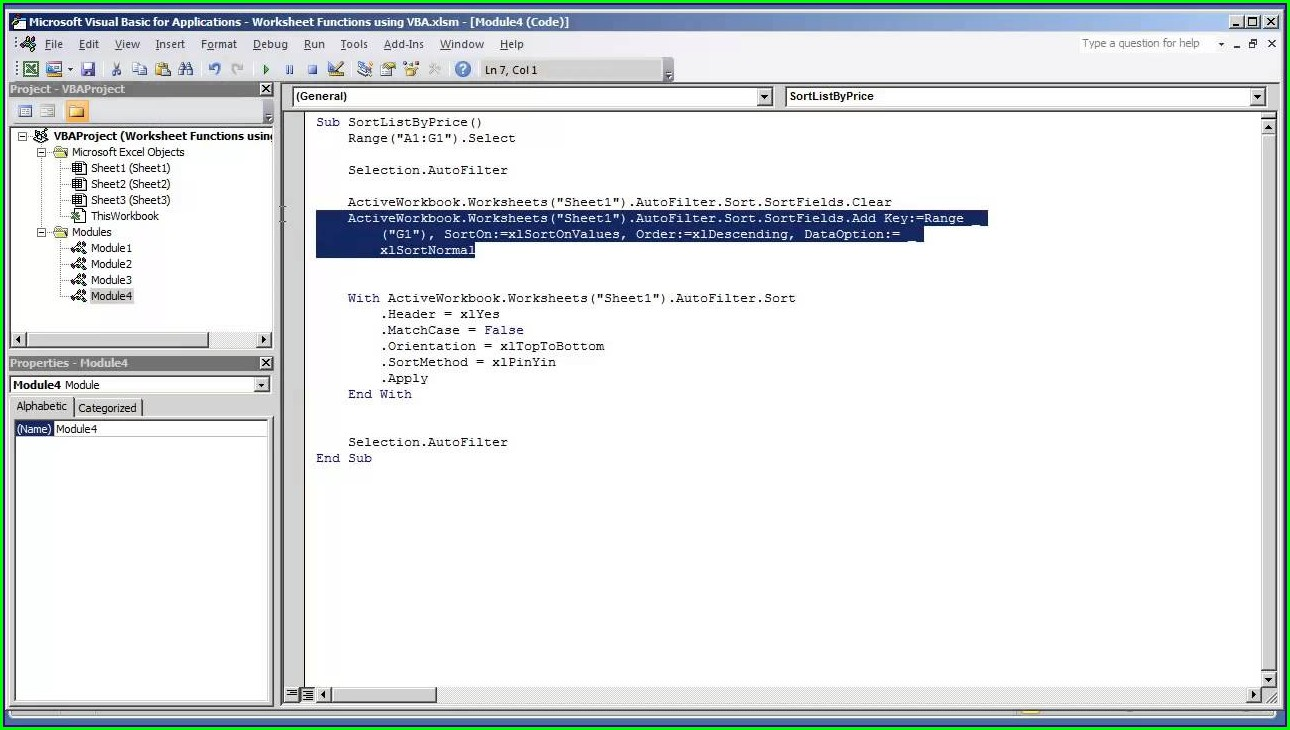 Excel Vba Sort Data Option