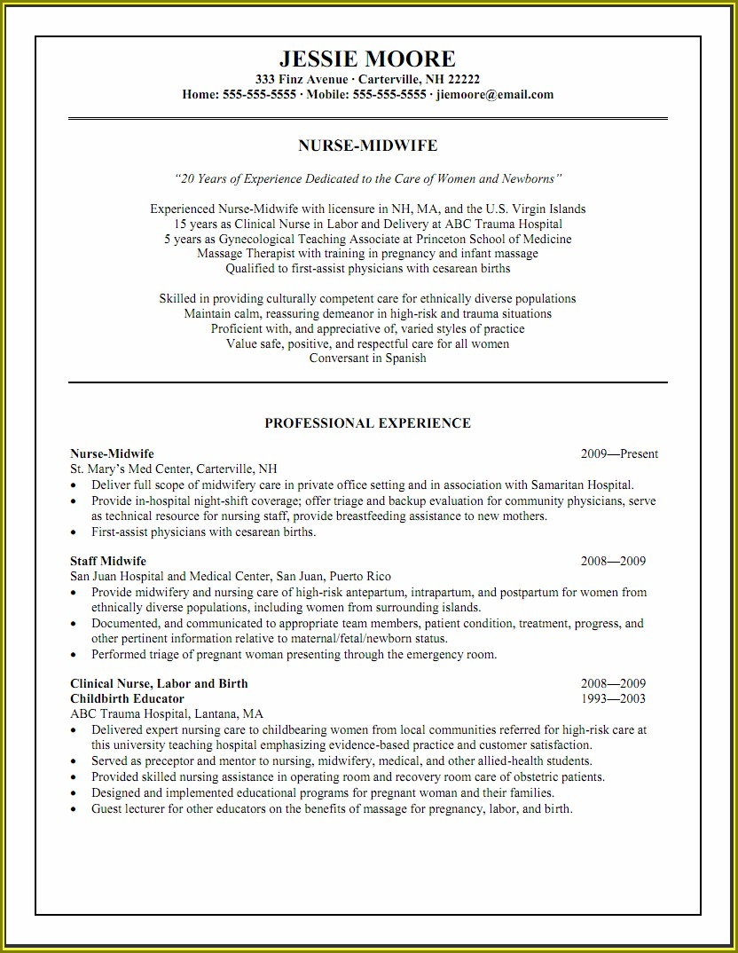 Experience Registered Nurse Resume Examples