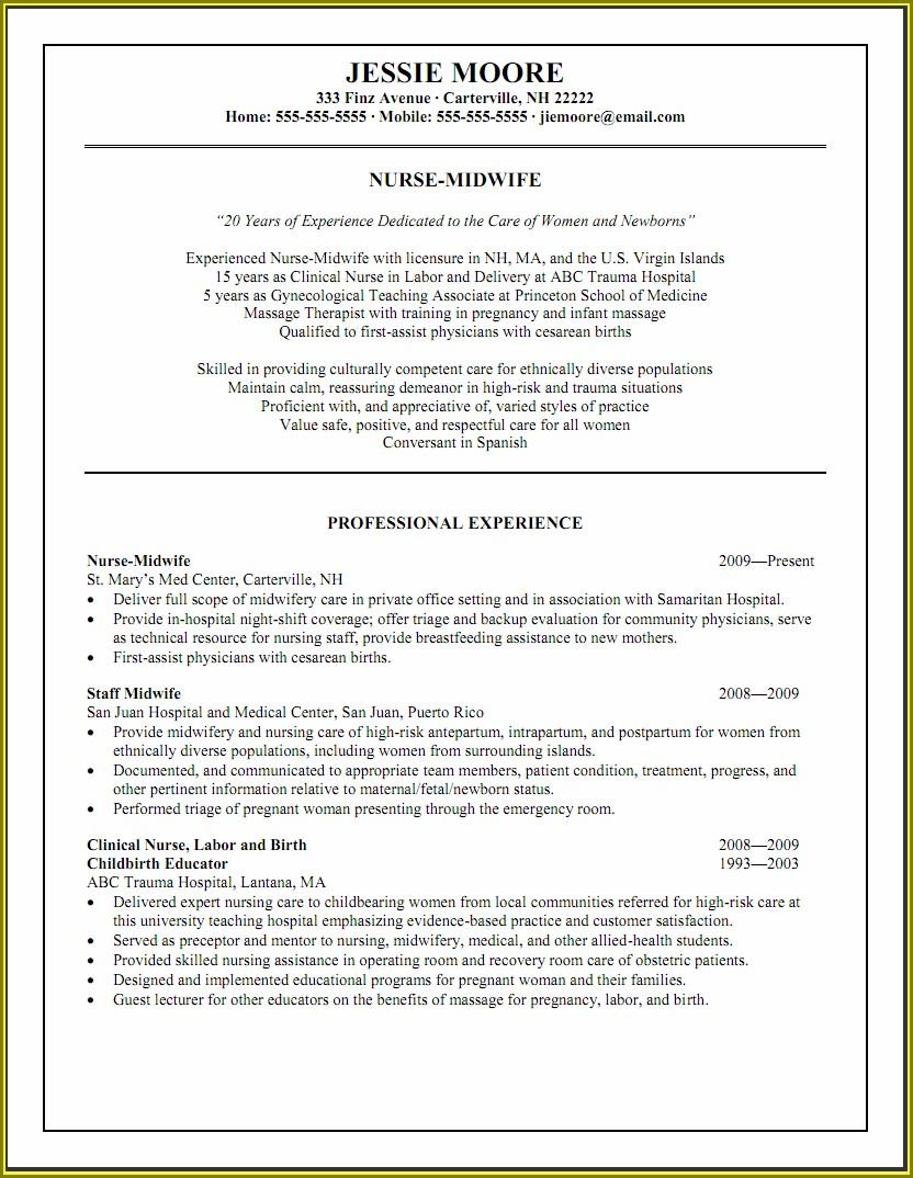 Experience Registered Nurse Resume Examples