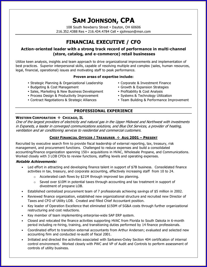 Experienced Commercial Executive Resume Format Pdf Download For Experienced