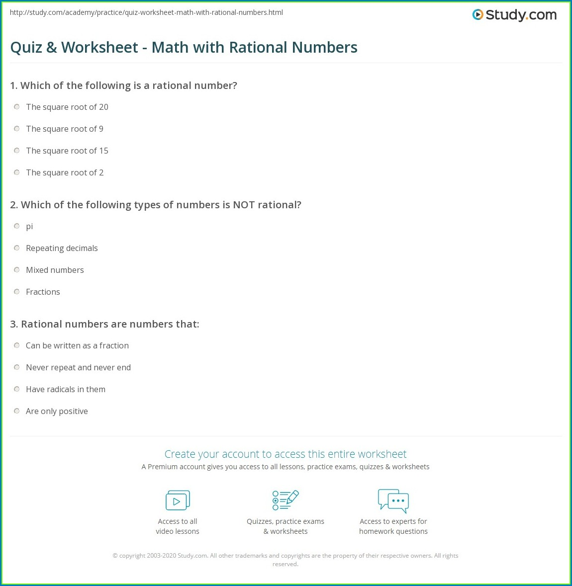 Expressions With Rational Numbers Worksheet