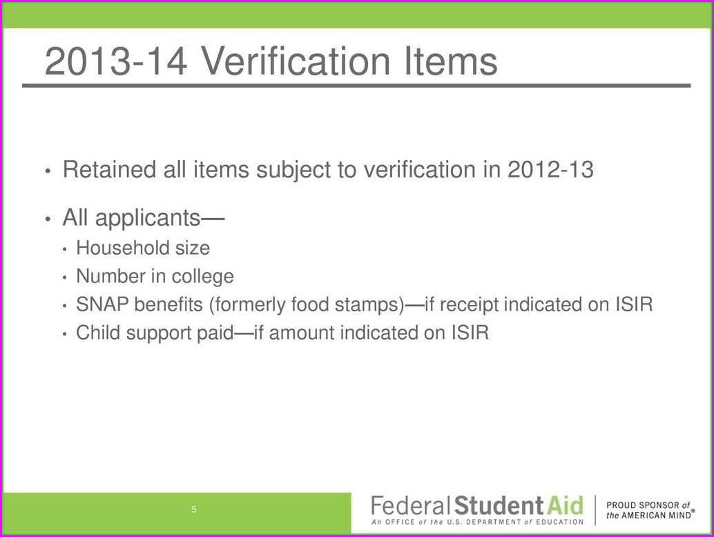 Fafsa Dependent Verification Worksheet 13 14