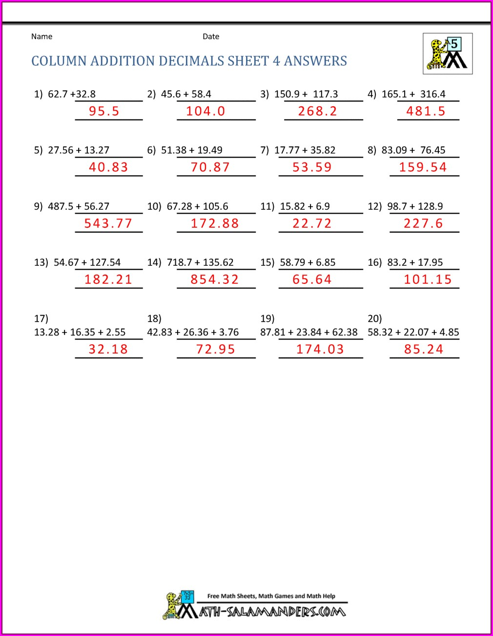Fifth Grade Math Worksheets Decimals