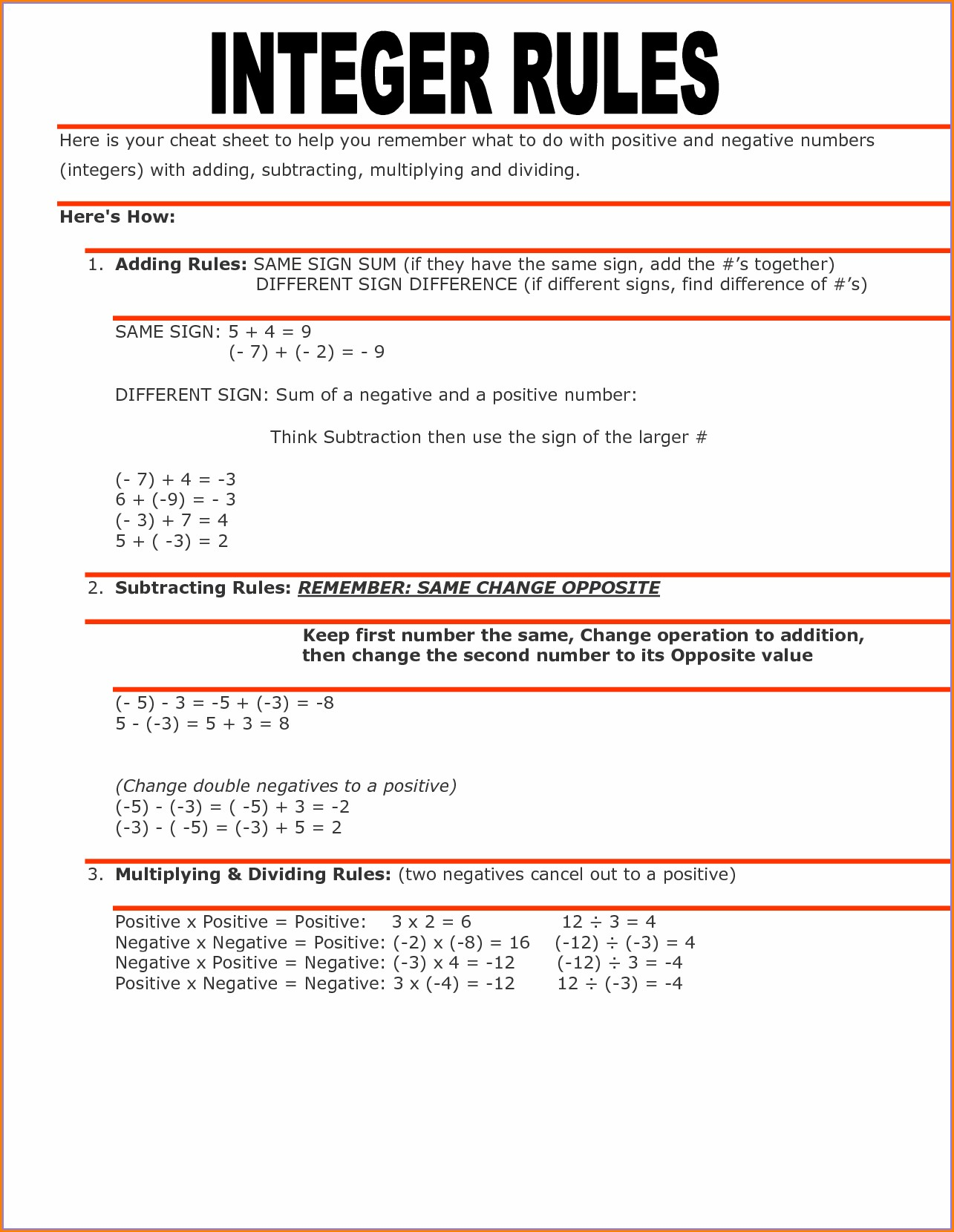Fifth Grade Math Worksheets Integers
