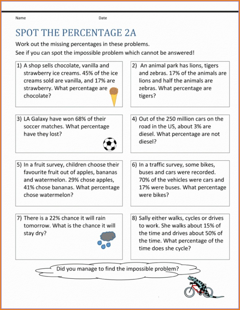 Fifth Grade Math Worksheets Percentages