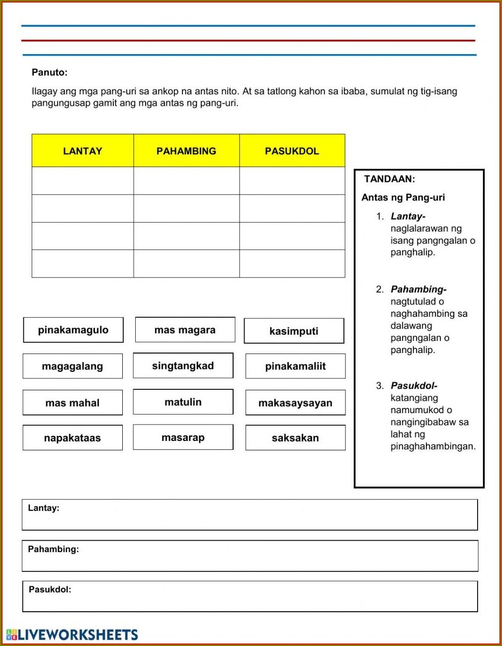 Filipino Pang Uri Worksheet Grade 2
