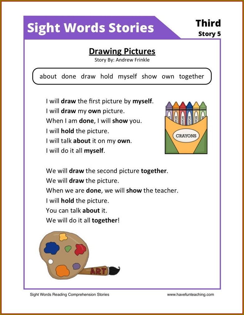 First Grade Comprehension Worksheets