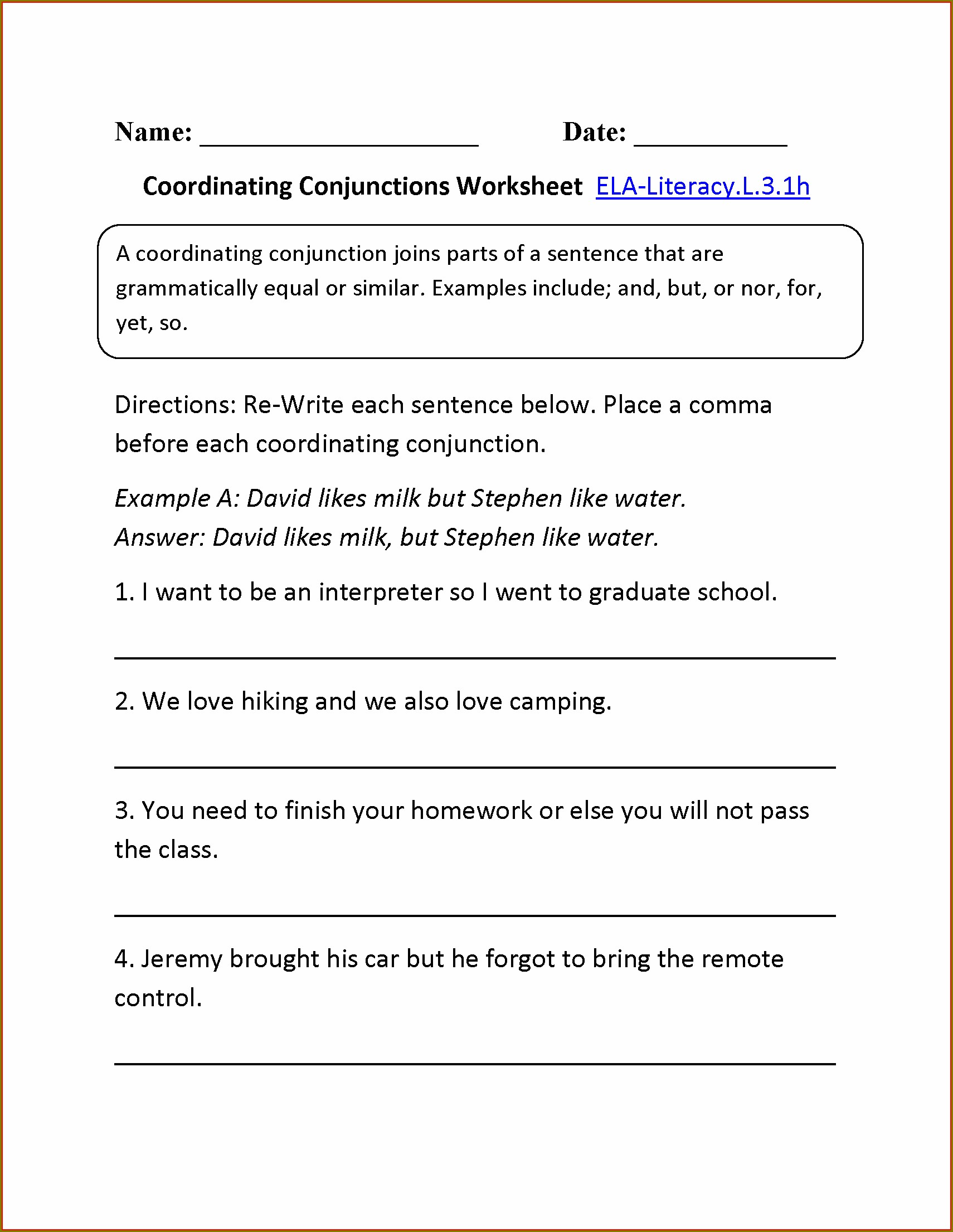 First Grade Conjunctions Worksheet Grade 1