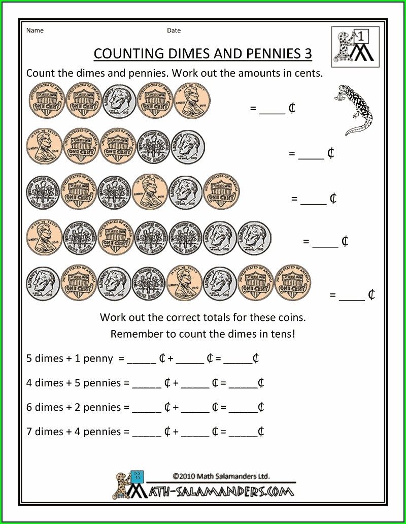 First Grade Counting Money Worksheets 1st Grade
