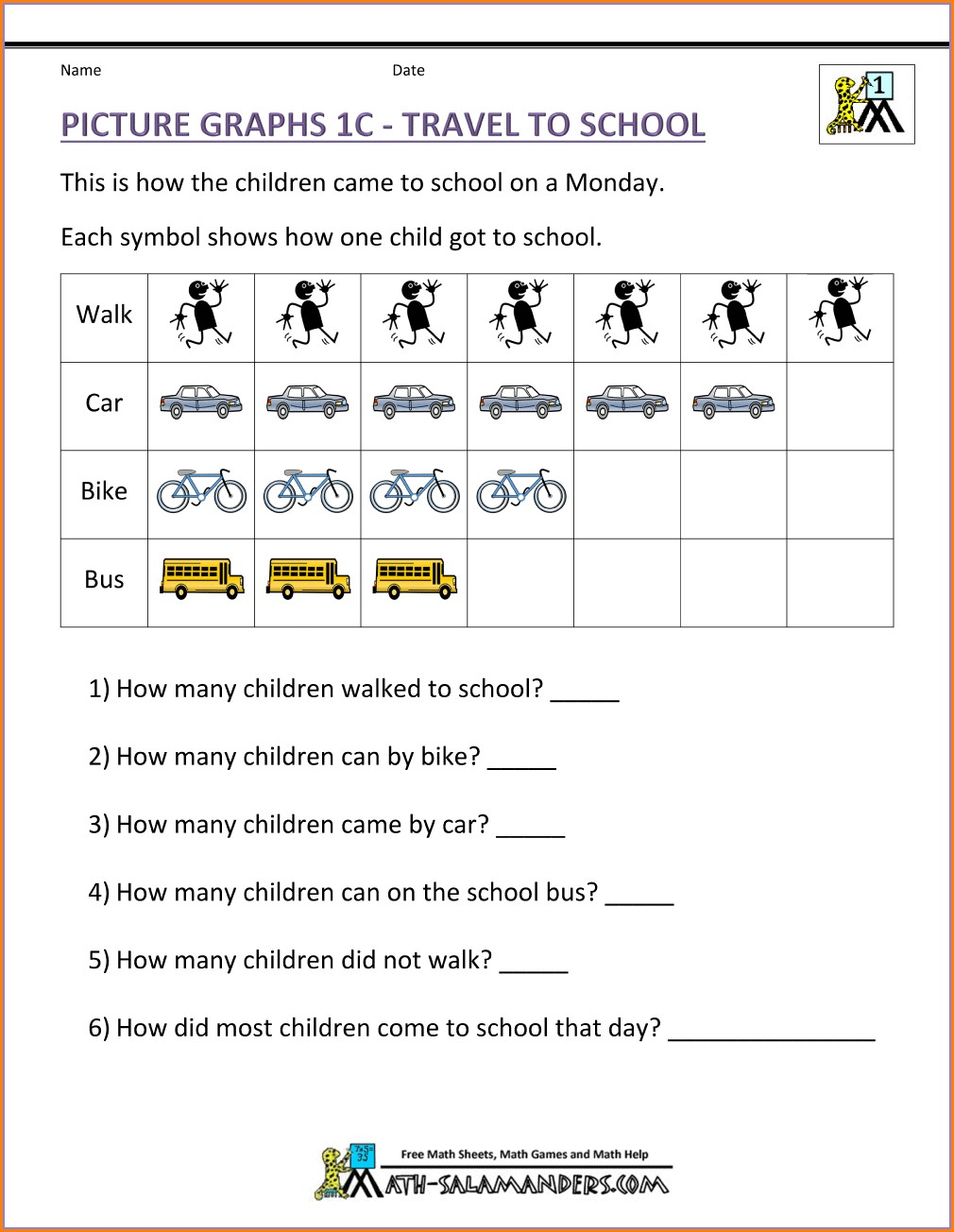 First Grade Data Handling Worksheets For Grade 1