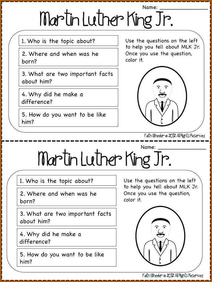 First Grade Dr Martin Luther King Worksheets