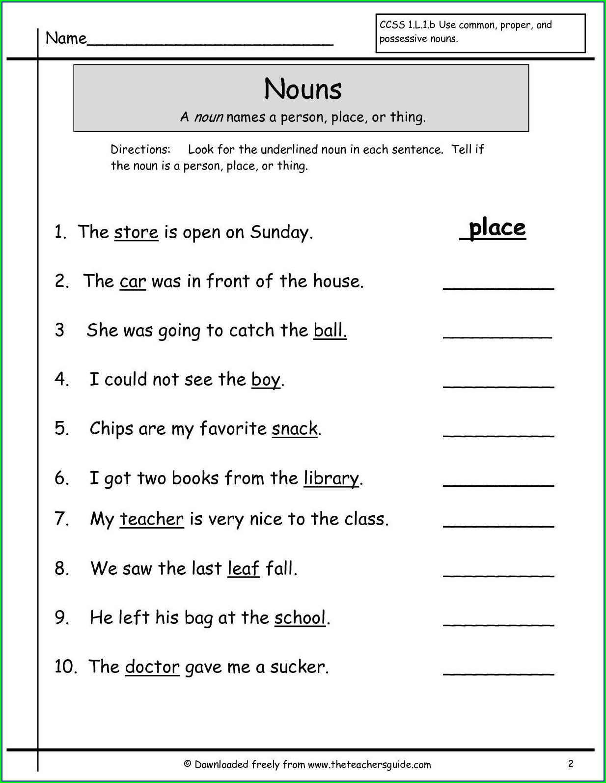 First Grade English Grammar Worksheets For Grade 1