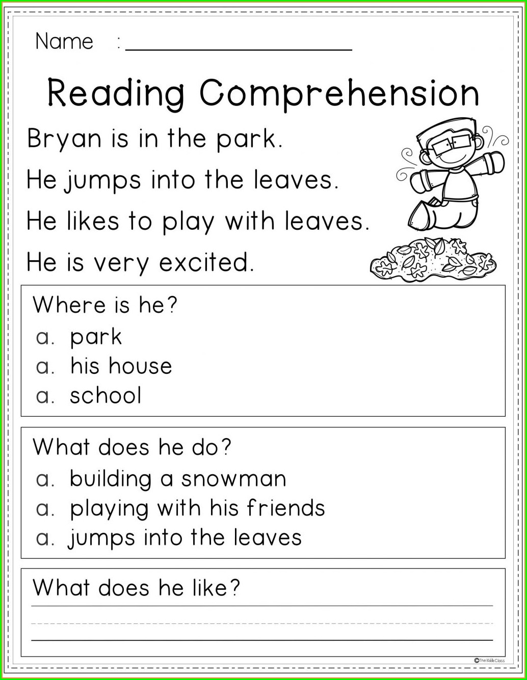 First Grade Listening Comprehension Worksheet