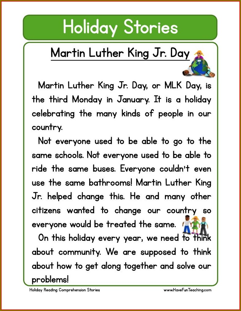 First Grade Martin Luther King Day Worksheets