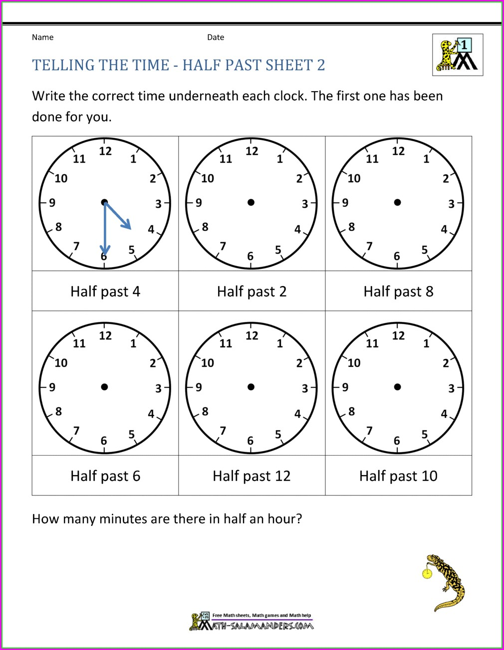 First Grade Math Worksheets On Time