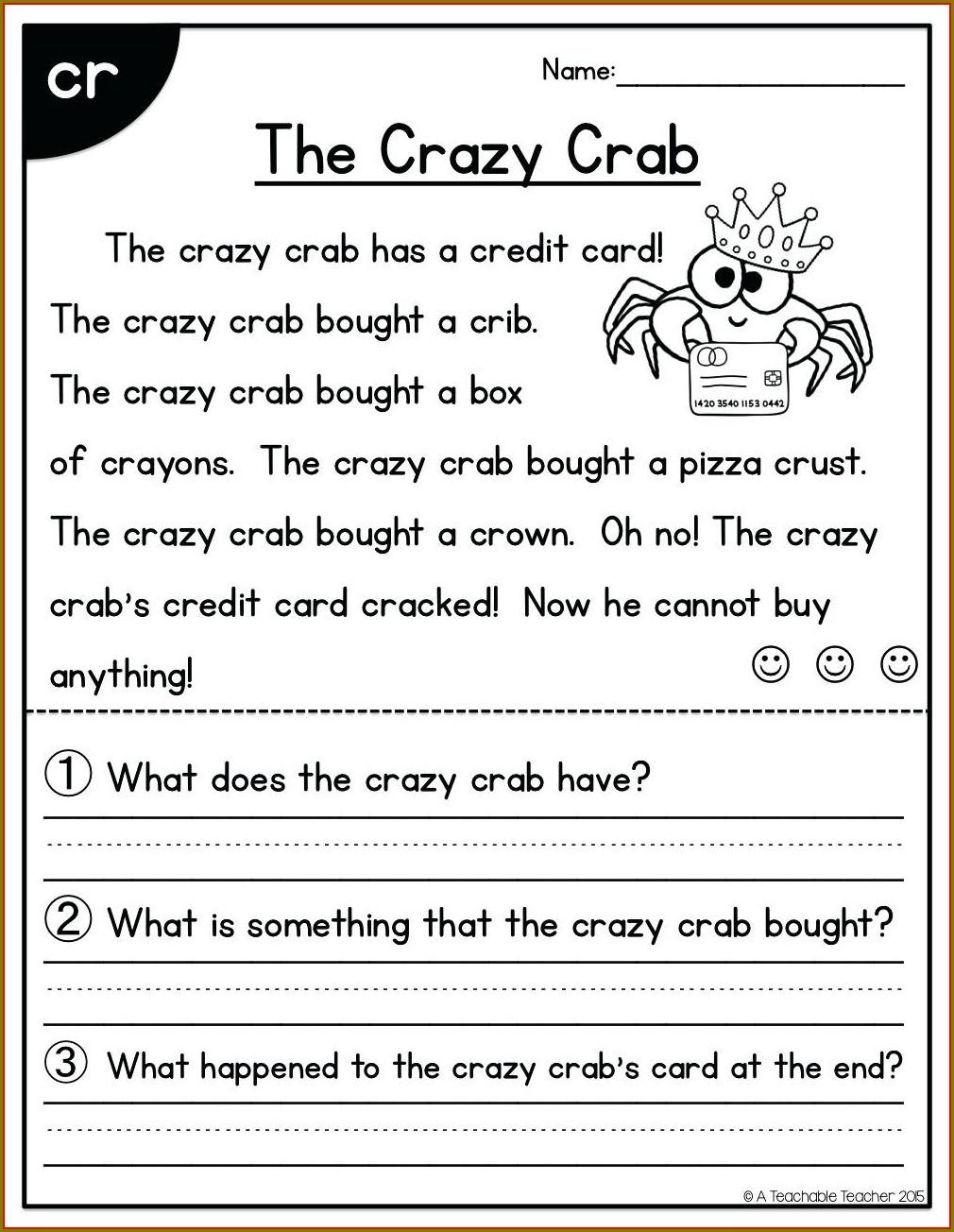 First Grade Reading Comprehension Worksheets Pdf