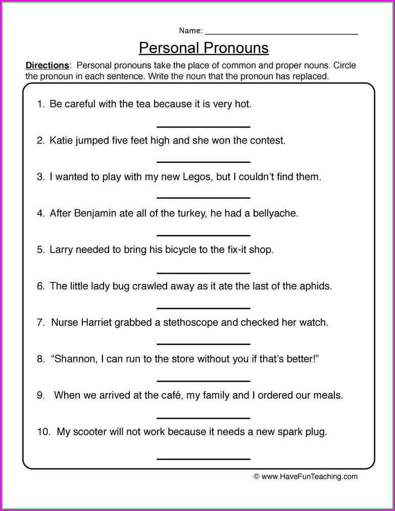 First Grade Worksheet On Pronouns For Grade 1