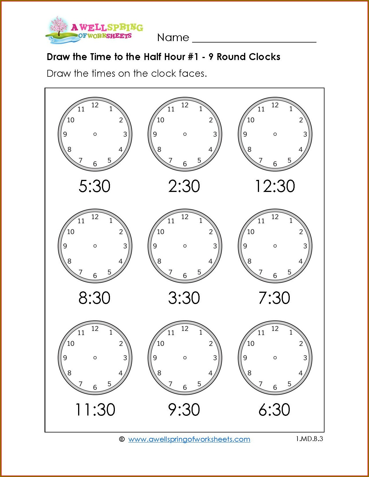 First Grade Worksheet On Telling Time