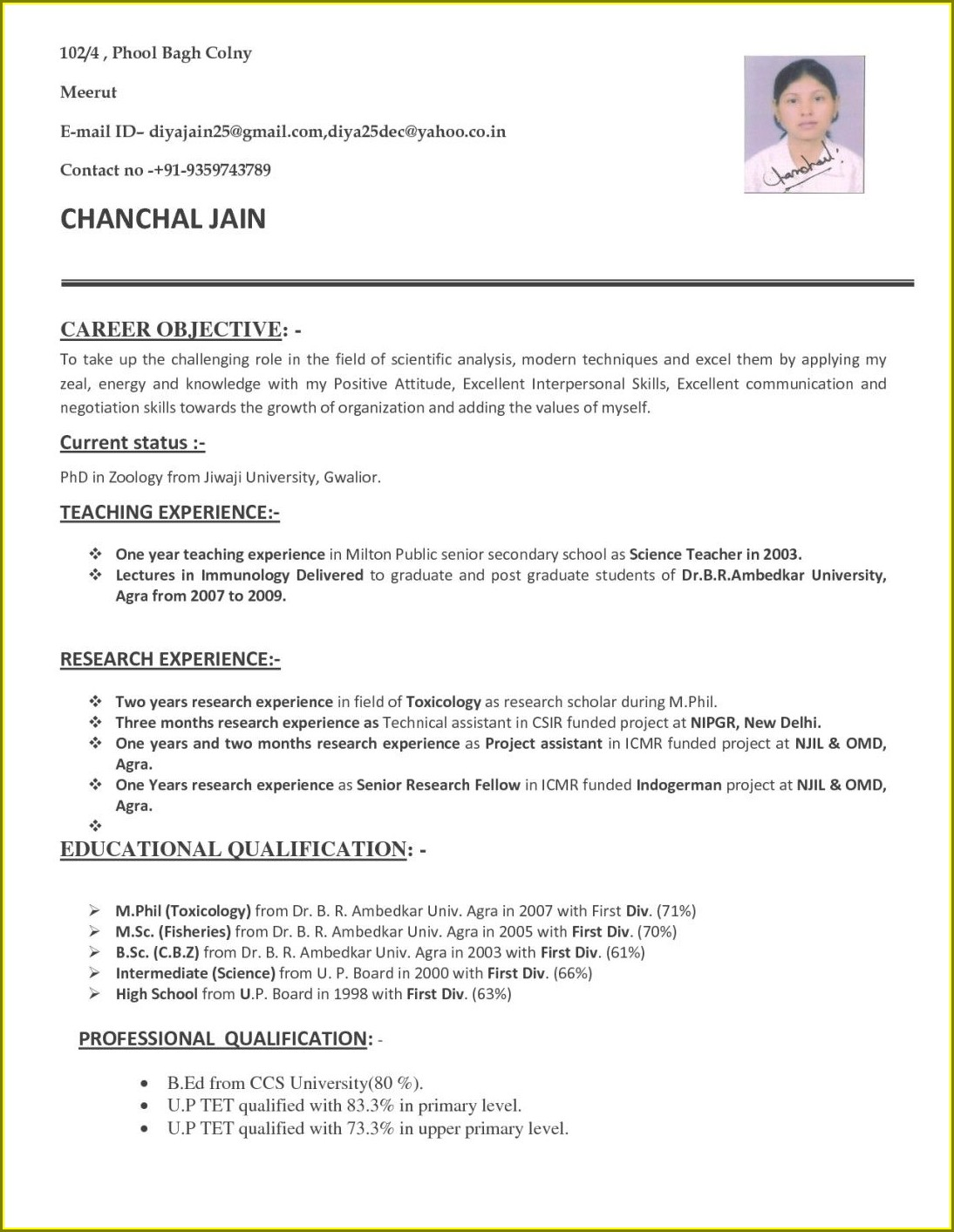 First Job Resume Format For Teacher Fresher