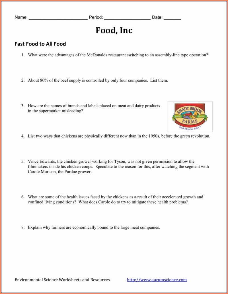 Food Inc Video Worksheet Answers