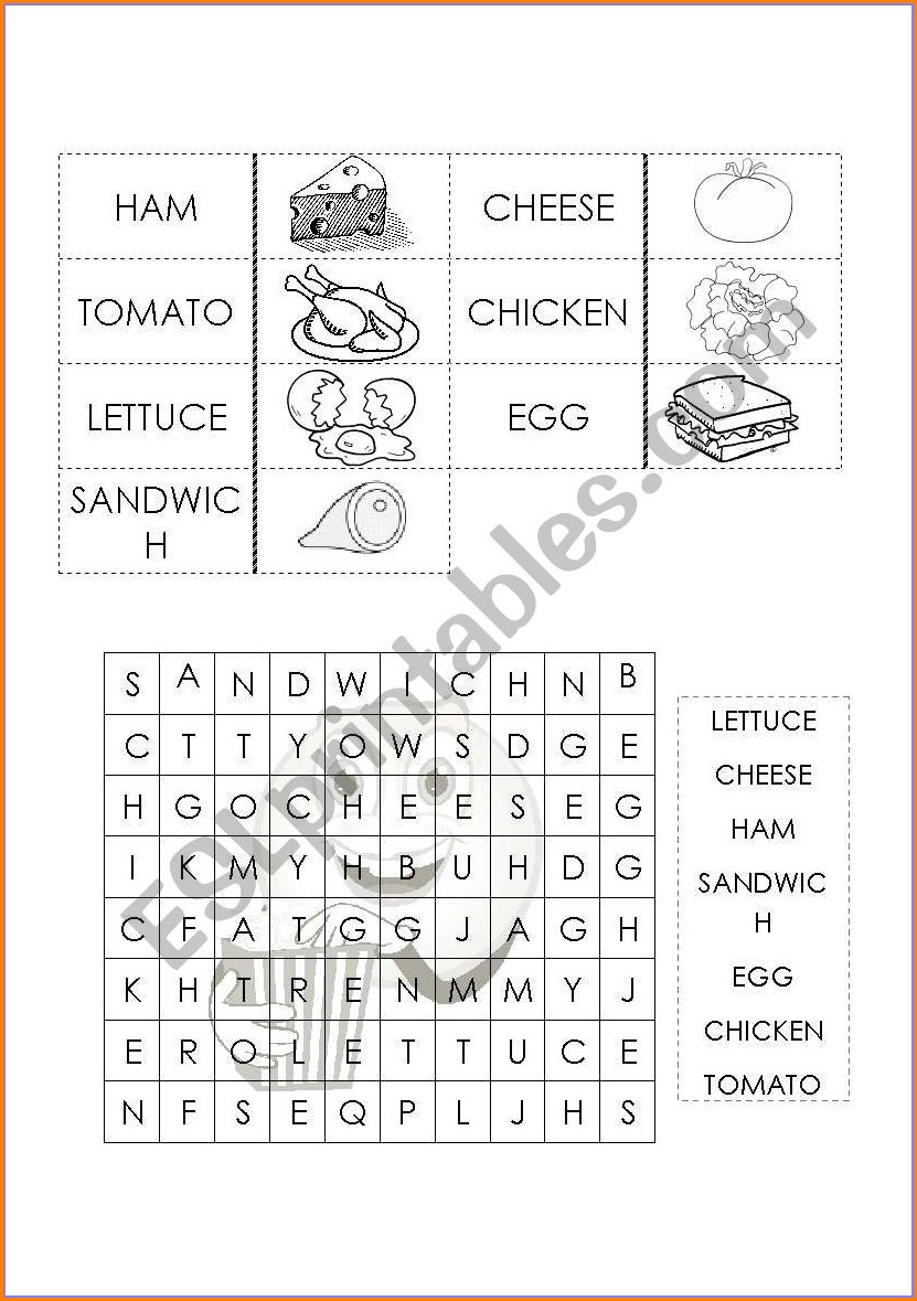 Food Worksheet For Young Learners