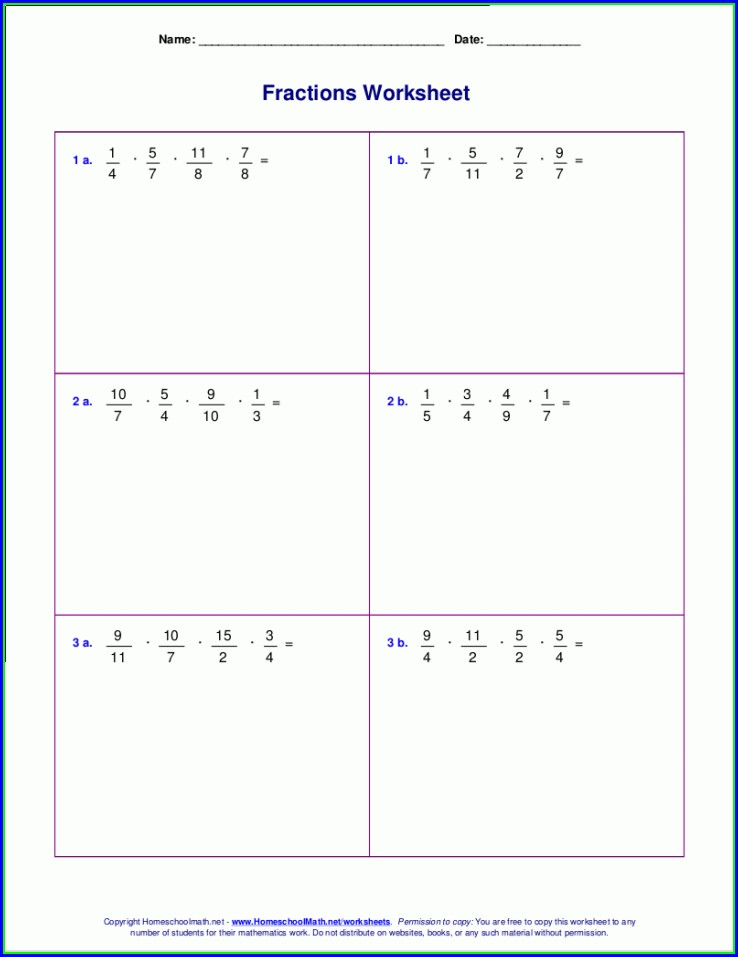 Fourth Grade 4th Grade Math Worksheets Fractions