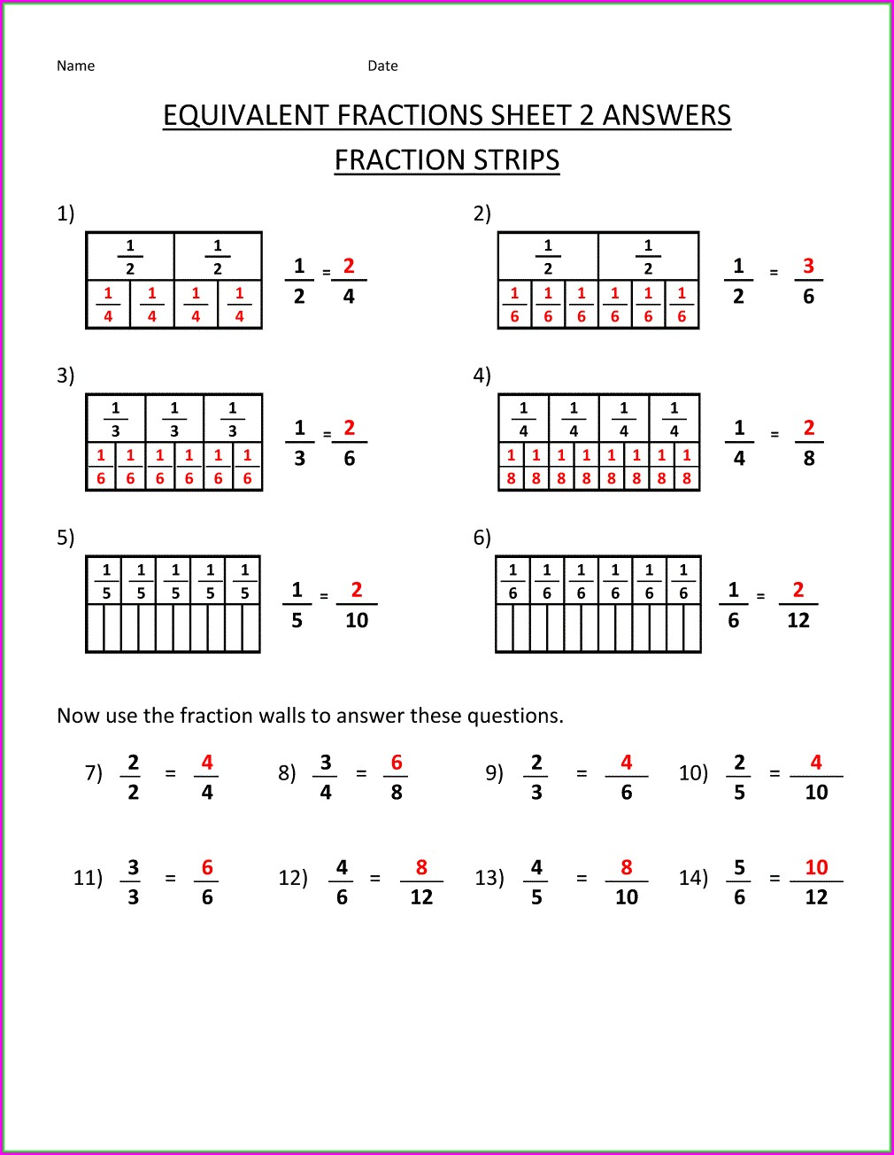 Fourth Grade Math Worksheets Comparing Fractions