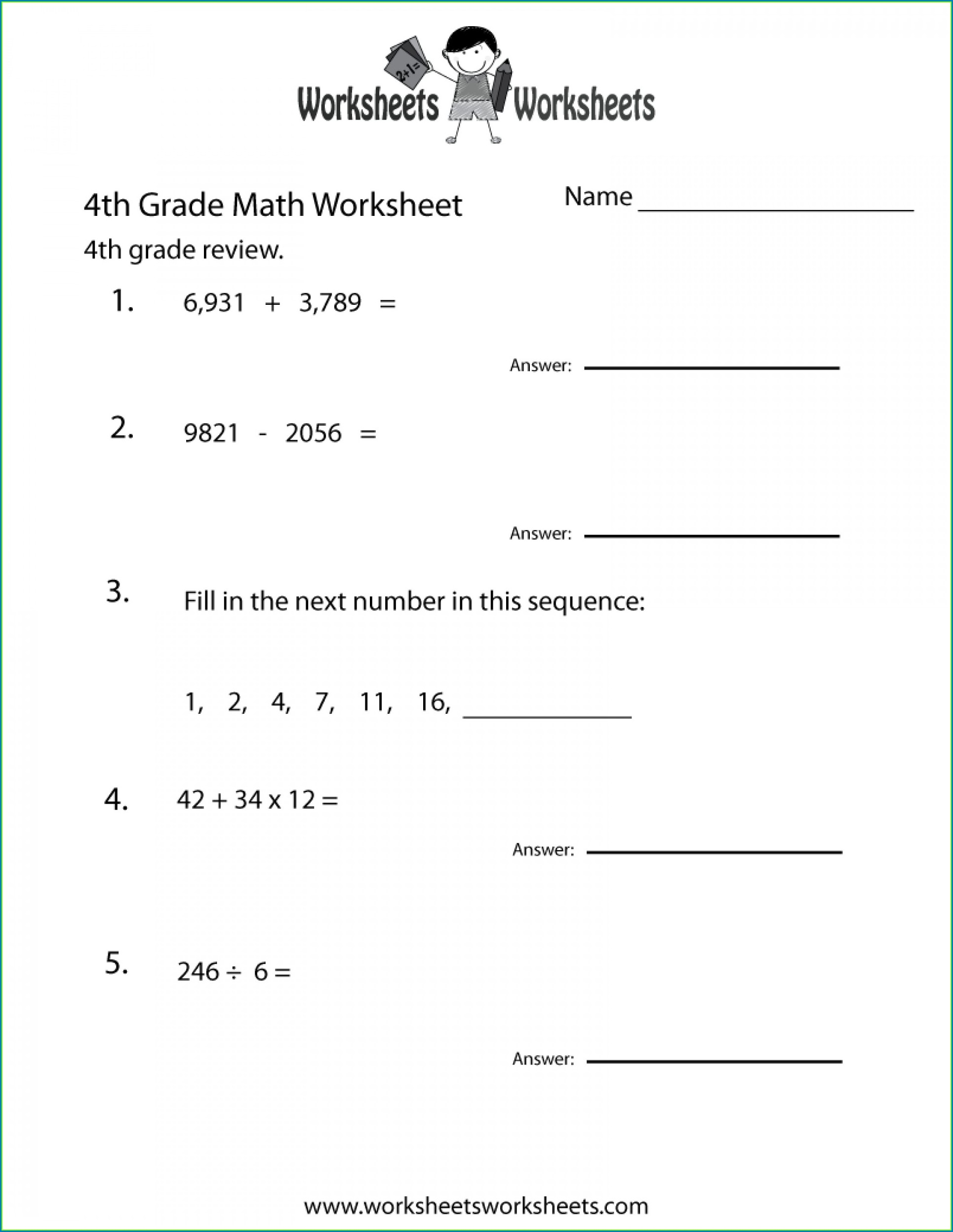 Fourth Grade Math Worksheets Decimals