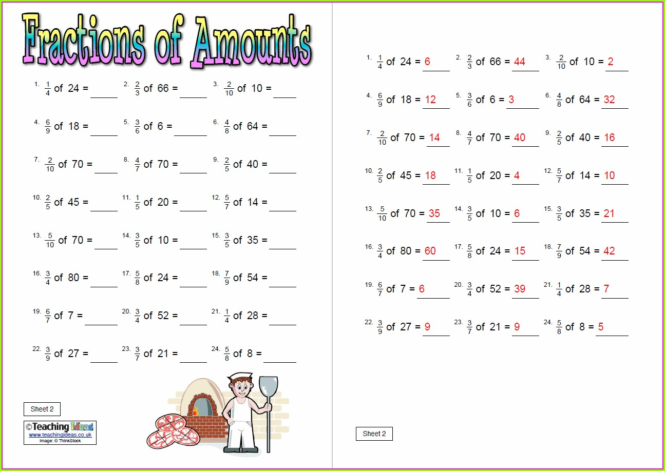 Fractions Of Amounts Worksheet Ks2