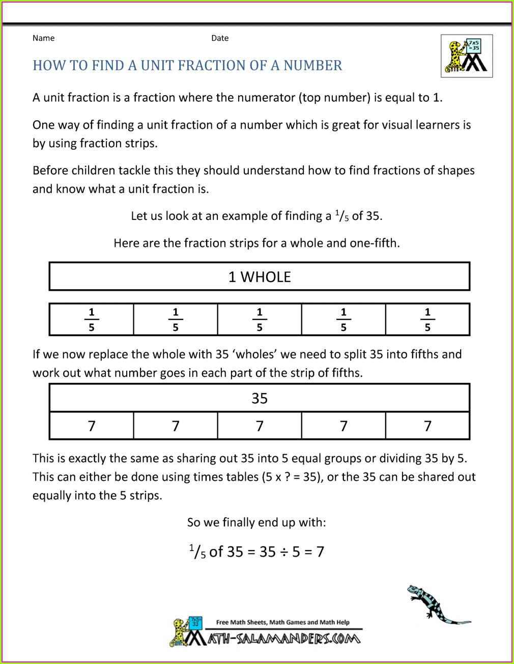 Fractions Of Amounts Worksheet Year 5