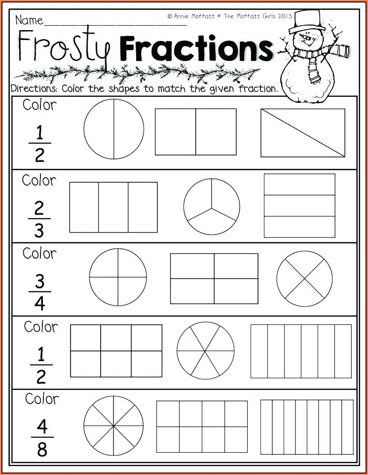 Fractions Worksheets To Color