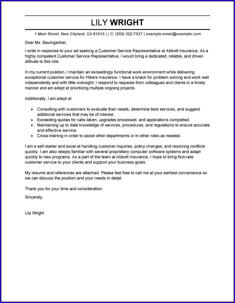 Free Example Cover Letter For Resume