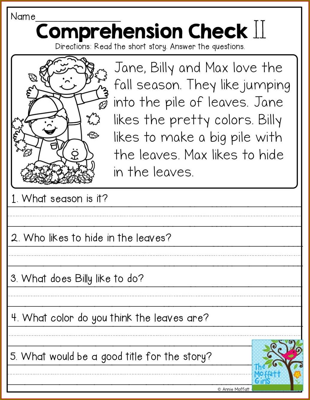 Free First Grade Comprehension Worksheets