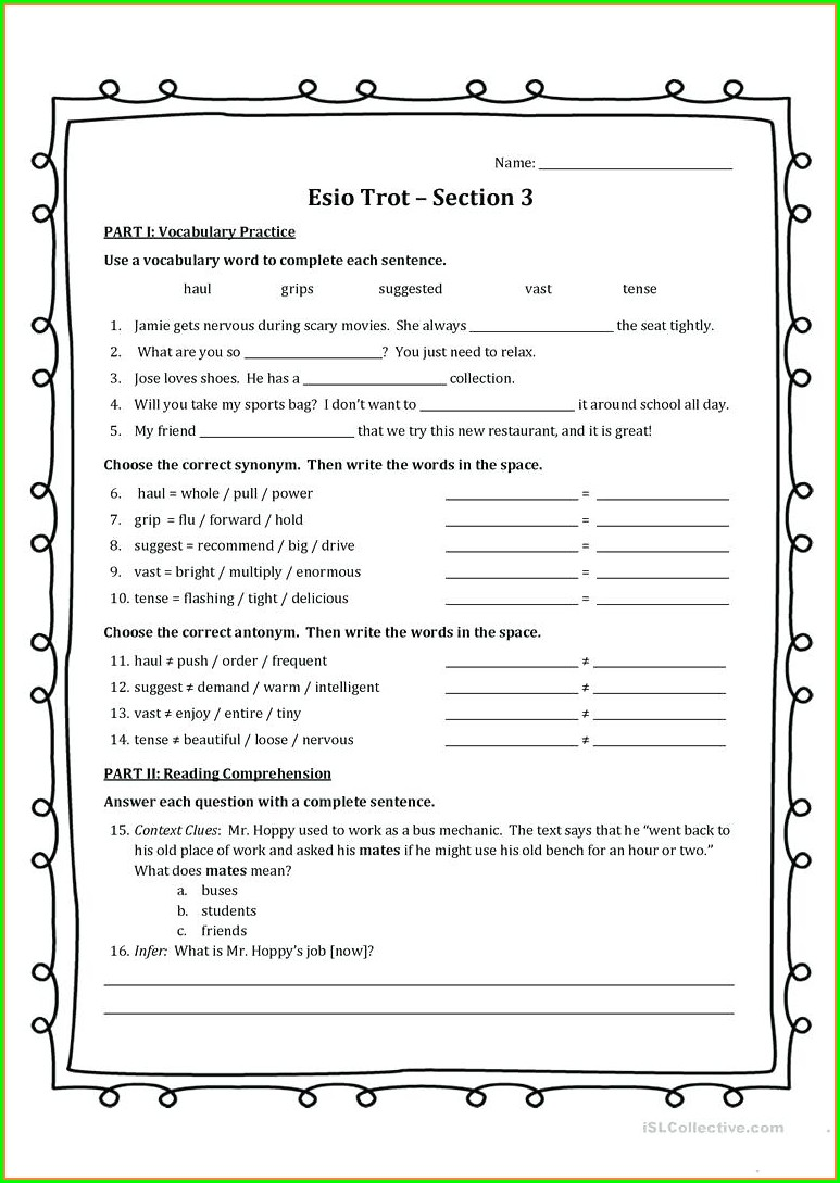 Free High School Health Worksheets Printables