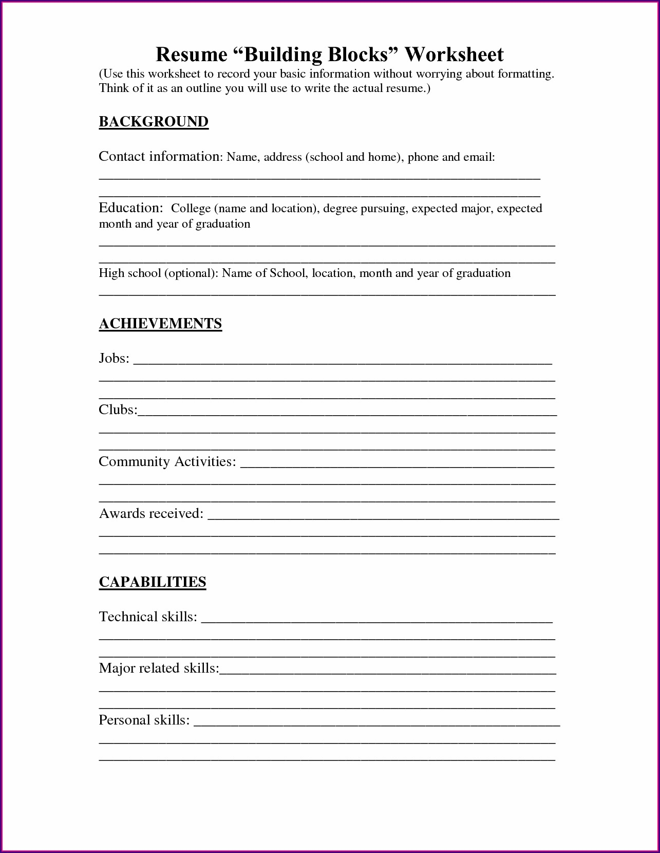 Free High School Resume Builder