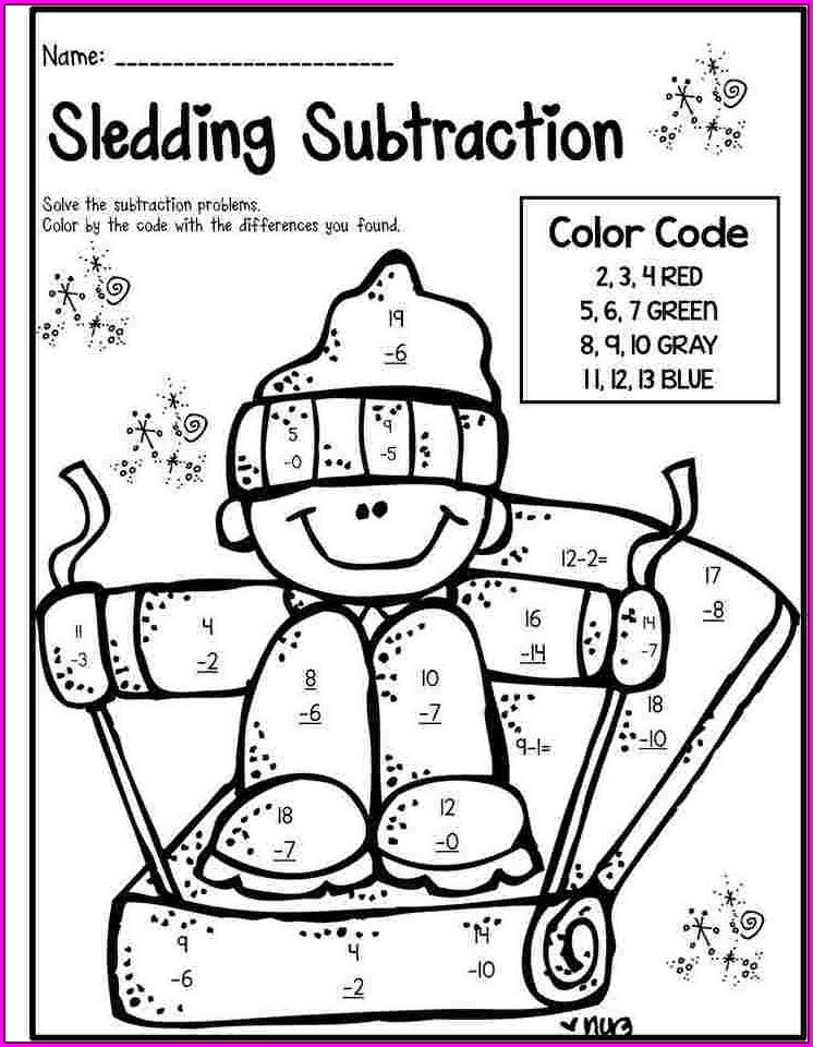 Free Math Coloring Worksheets 1st Grade