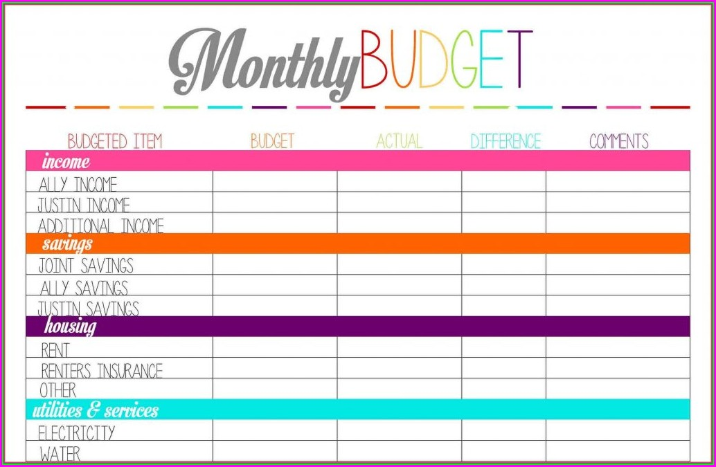 Free Monthly Budget Worksheet Excel