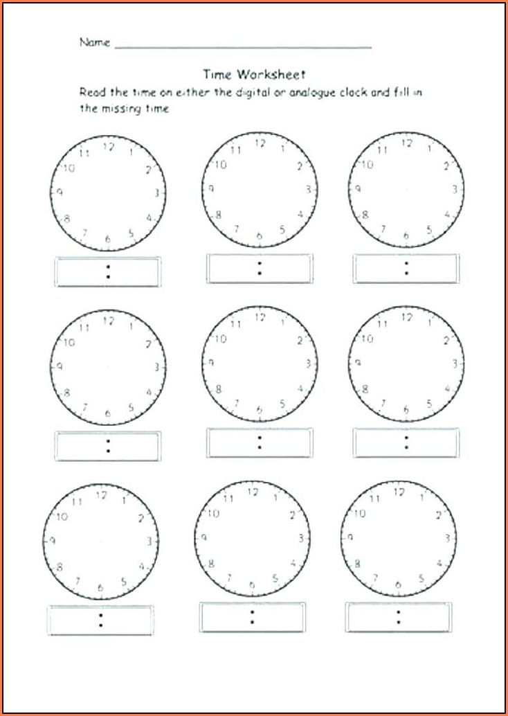 Free Printable Digital Time Worksheets