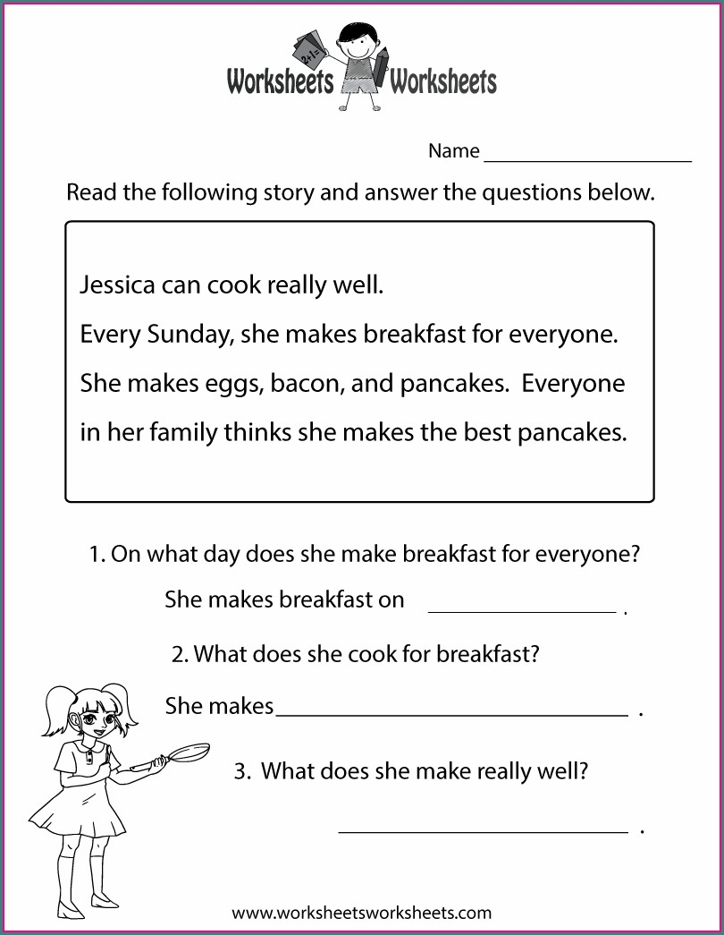 Free Printable Grade 1 Reading Comprehension Worksheets